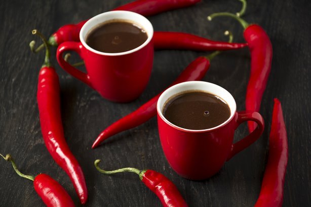 hot chocolate with red chili peppers
