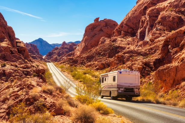 RV traveling on the road in Valley of Fire