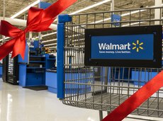 Walmart shopping cart close-up in the store