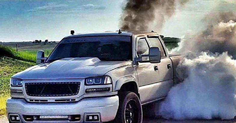 truck rolling coal