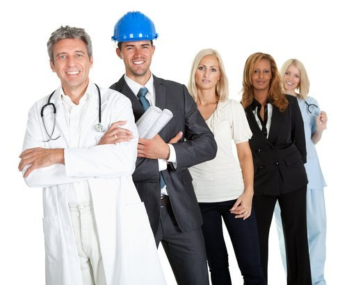 group of successful working people illustrating different career options