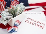 ballot for presidents election 2016 and many dollar banknotes on stars and stripes background