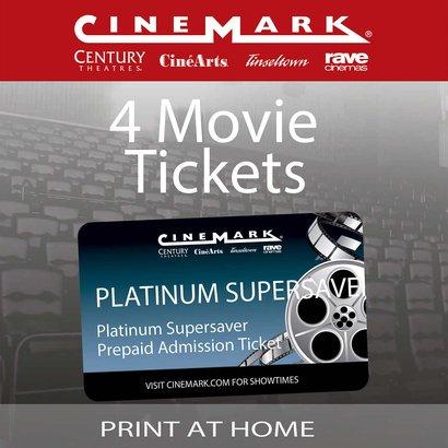 0ee7ccee1226 Cinemark Theatres Platinum Supersaver 4-Pack Movie eTickets
