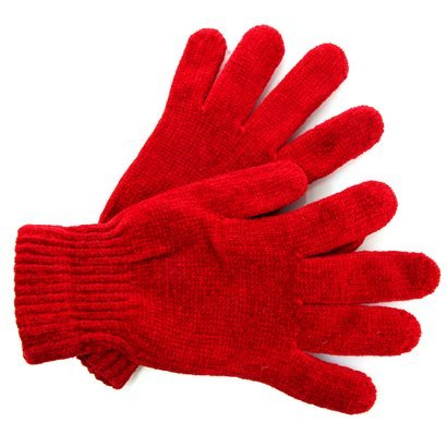 red woman knitted gloves
