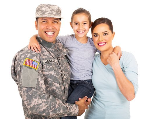 happy young military family of three