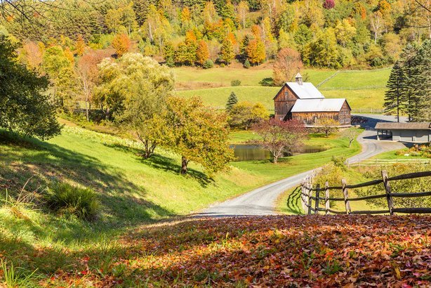 old barn and autumn landscape in Woodstock, Vermont