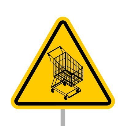 yellow warning sign of attention shopping cart