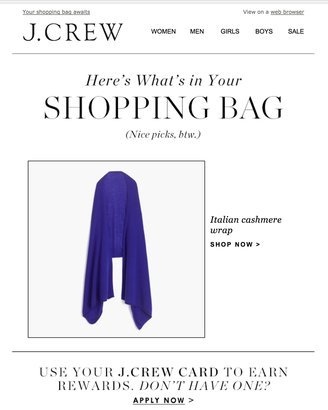 abandoned J. Crew cart email