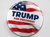 presidential campaign button of Donald Trump running for the president's office