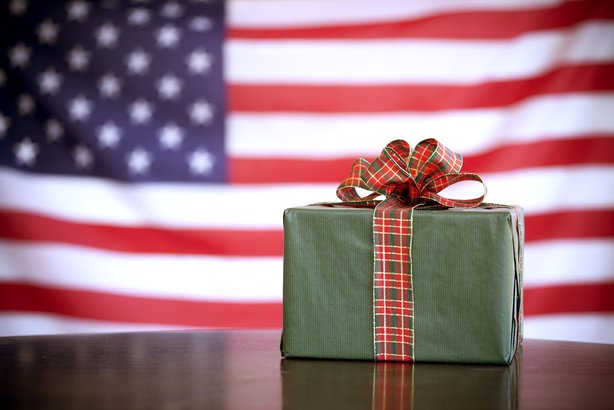gift box on an American flag