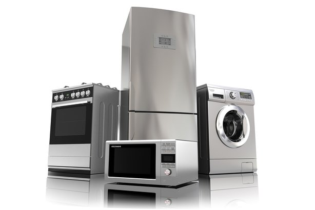 Large appliances on white background