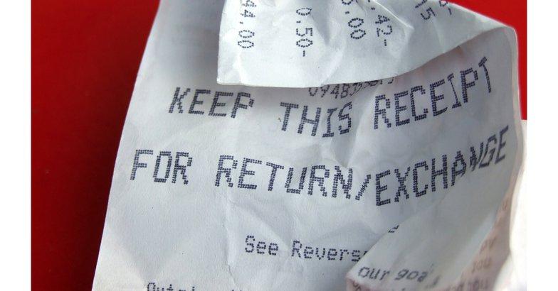 Closeup of crumpled receipt