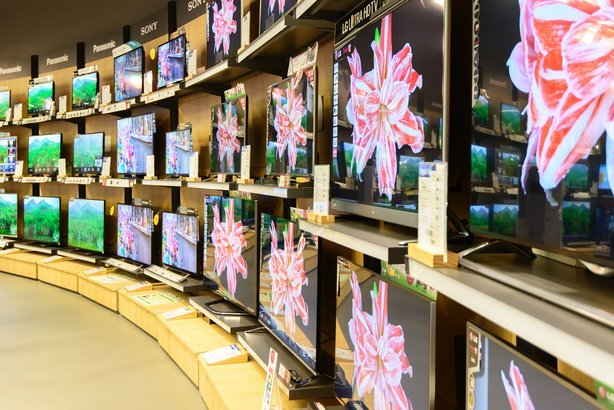 TVs in an electronics store