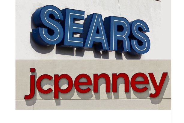 Sears and JCPenney retail store signs