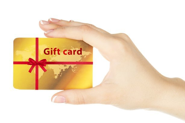 female hand with gift card