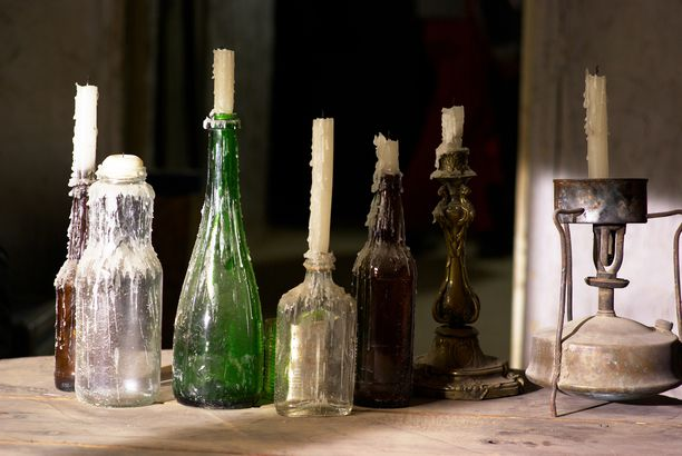 Wine bottle candlestick holder halloween
