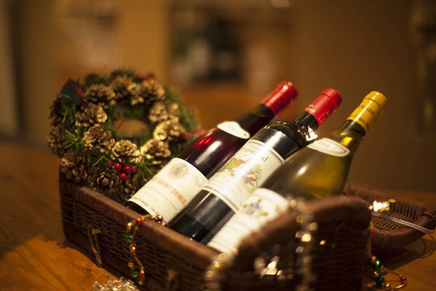 bottles of wine in the basket for Christmas