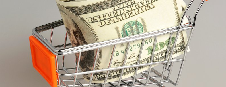 money in shopping cart on a gray background