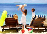chairs on tropical beach, family beach vacation
