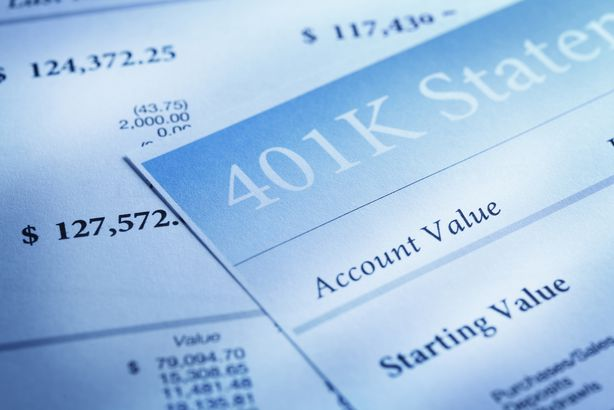 close up of several 401K statements
