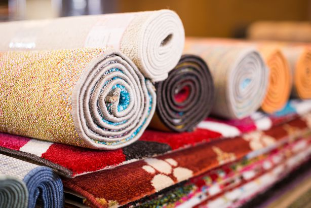 colorful rugs in carpet shop
