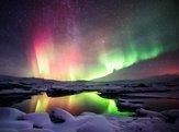 northern lights over the Jokulsarlon lagoon, Iceland