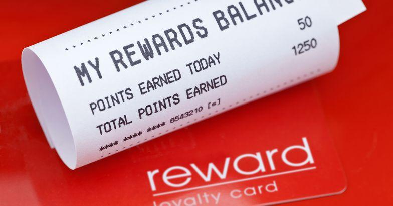 loyalty rewards card and balance receipt