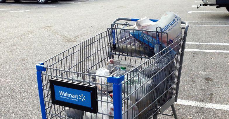Walmart cart with groceries