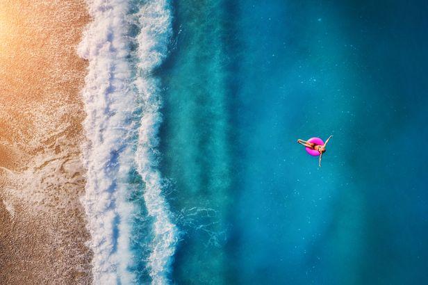 Sole swimmer in the Dead Sea