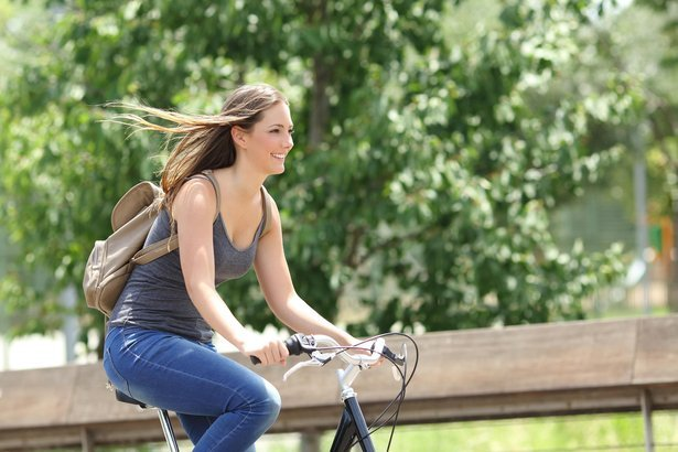 college girl bike riding