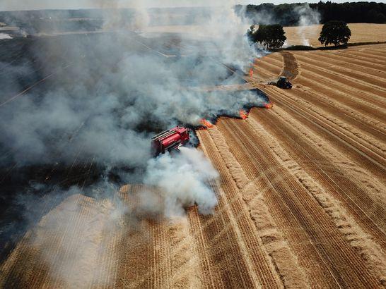 Corn farm fire, Denmark