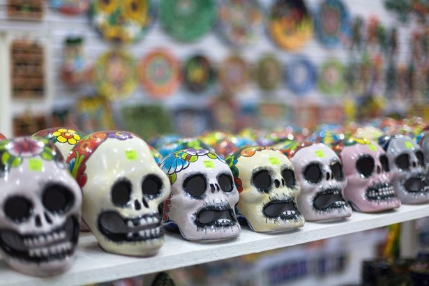 multi-colored souvenirs and national craft in Oaxaca, Mexico