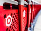 Closeup of row of Target store shopping carts
