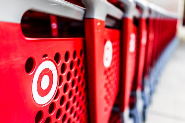 Closeup of row of Target store shopping carts