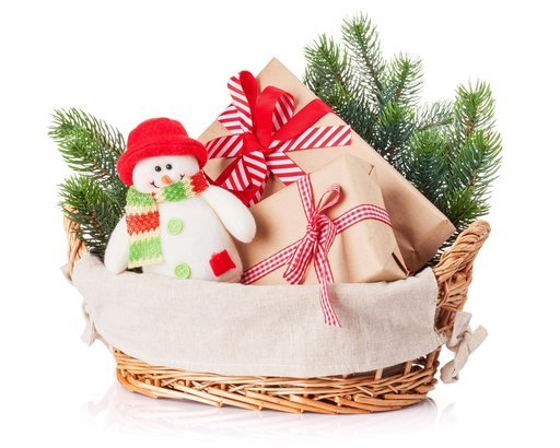 christmas gift boxes snowman toy fir tree in basket