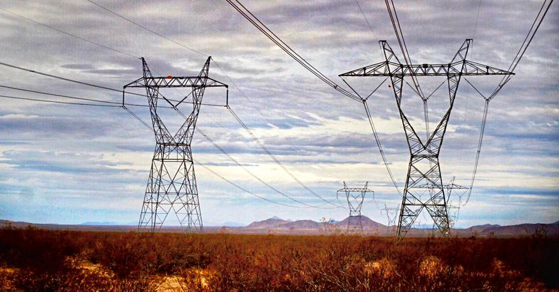 powerlines and the horizon of the Mojave Desert