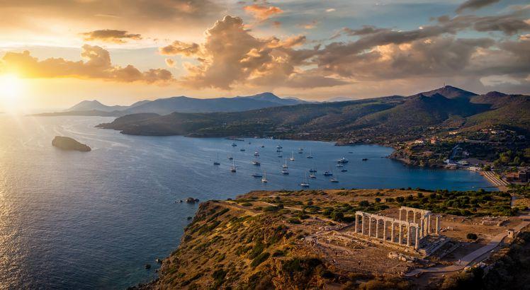 Temple of Poseidon drone