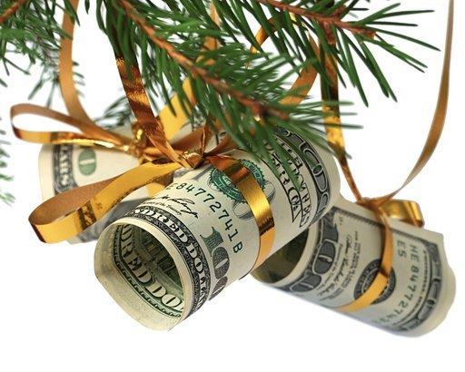 dollars on christmas tree