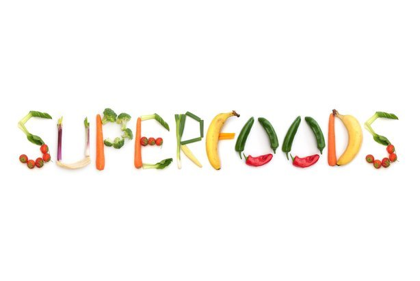 'Superfoods' written in fruits and vegetables