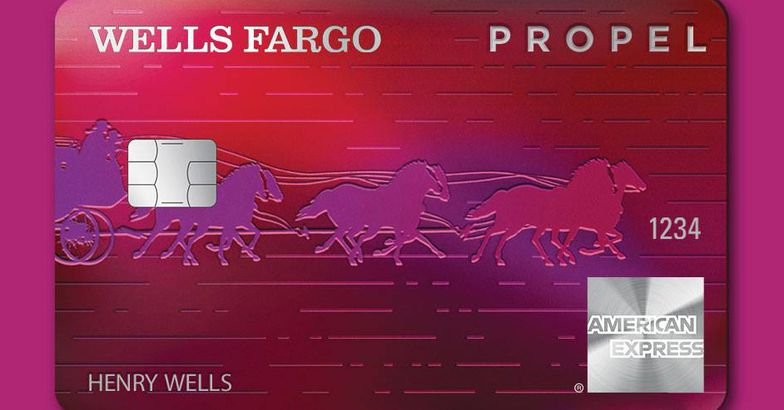 wells fargo propel card against solid background
