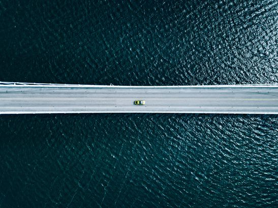 Finland bridge over water by drone