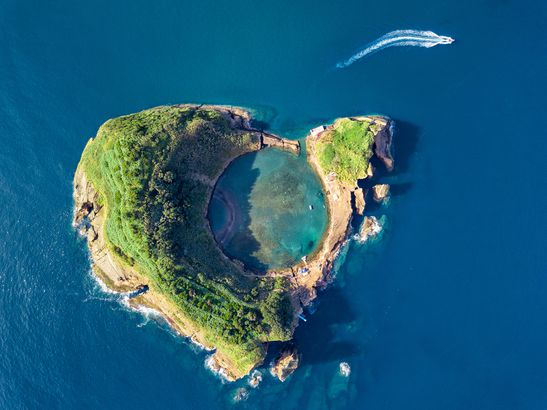 Islet of Vila Franca do Campo, Portugal by drone