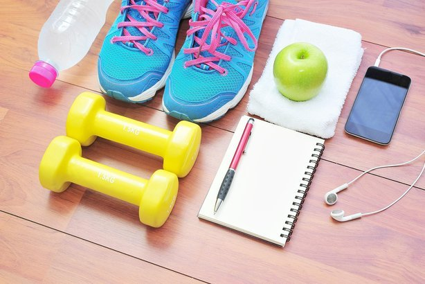 various workout essentials
