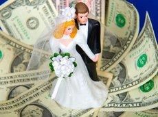 bridal couple on money