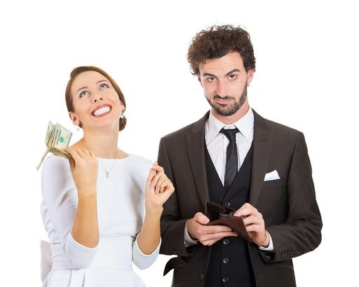 happy woman got money dollar bills cash from skeptical, dubious, upset man holding empty wallet