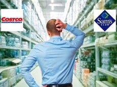 man thinking in an aisle considering Costco vs. Sam's