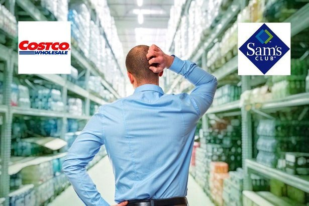 man thinking in an aisle considering Costco vs. Sam's