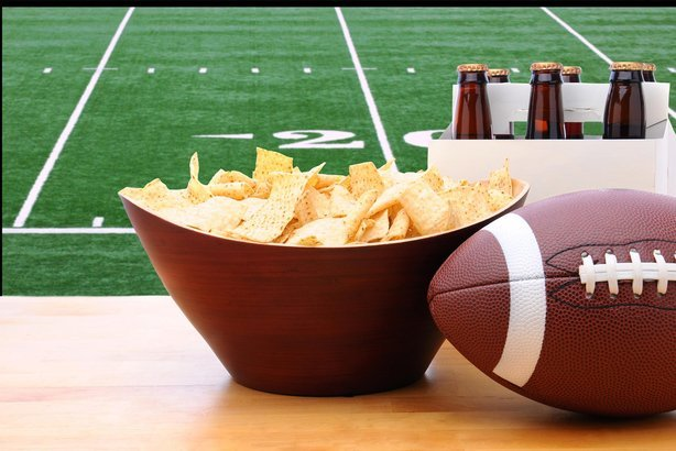 chips, beer, and football for football themed background