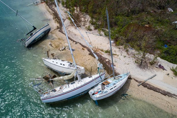 Sailboats washed ashore in Key West