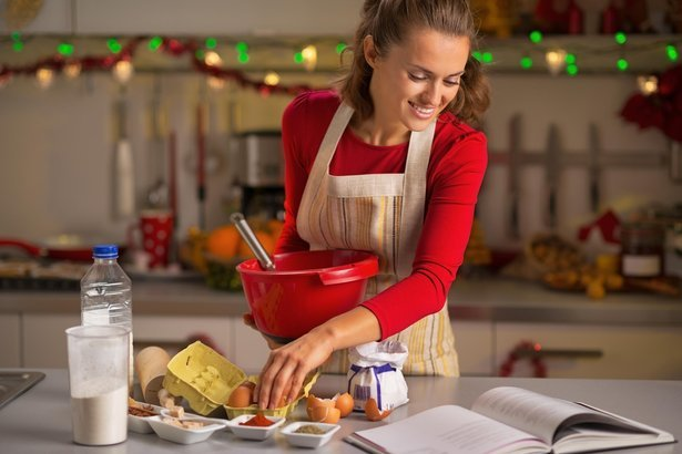 woman cooking in her kitchen for the holidays